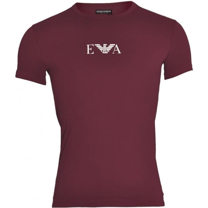 Emporio Armani Coloured Stretch Cotton Logo Crew Neck T-Shirt, Aubergine