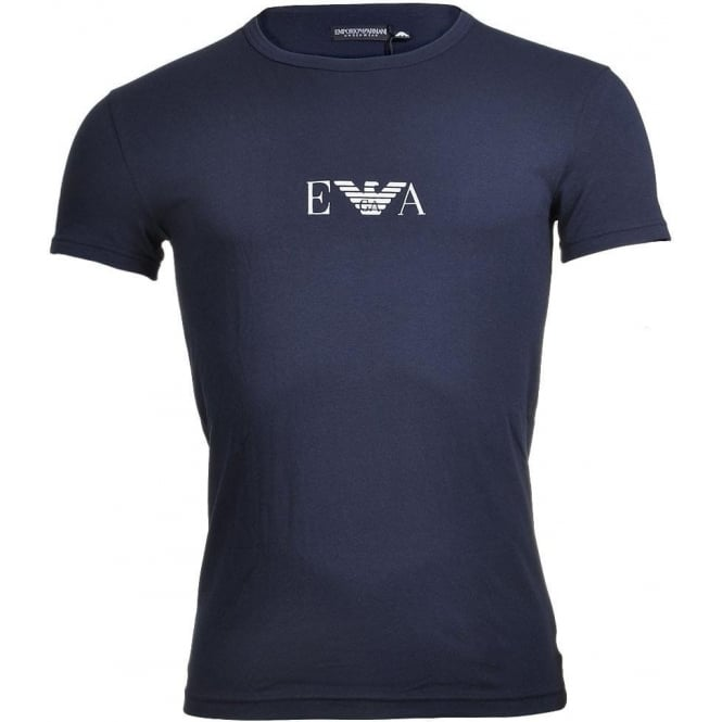 Emporio Armani Bodywear Coloured Stretch Cotton Logo Crew Neck T-Shirt, Marine