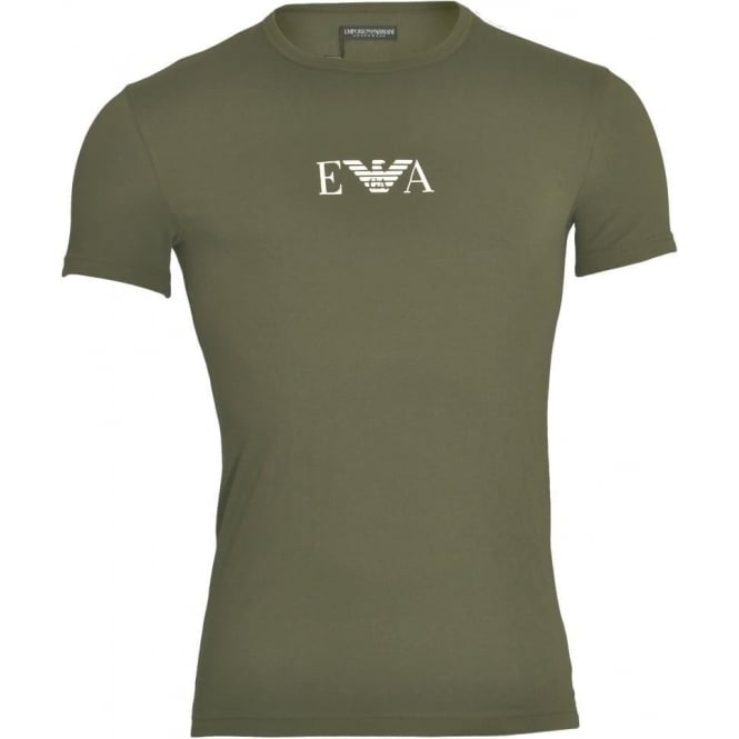 Emporio Armani Coloured Stretch Cotton Logo Crew Neck T-Shirt, Military