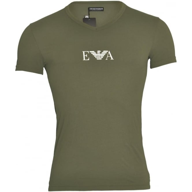 Emporio Armani Coloured Stretch Cotton Logo V-Neck T-Shirt, Military