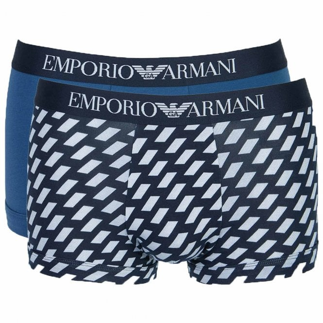 Emporio Armani Cotton Stretch 2-Pack Trunk, Marine Print / Cobalt
