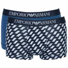 Cotton Stretch 2-Pack Trunk, Marine Print / Cobalt