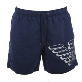 Eagle Logo Swim Shorts, Navy