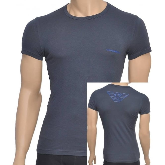 Emporio Armani Eagle Stretch Cotton Crew Neck T-Shirt, Charcoal