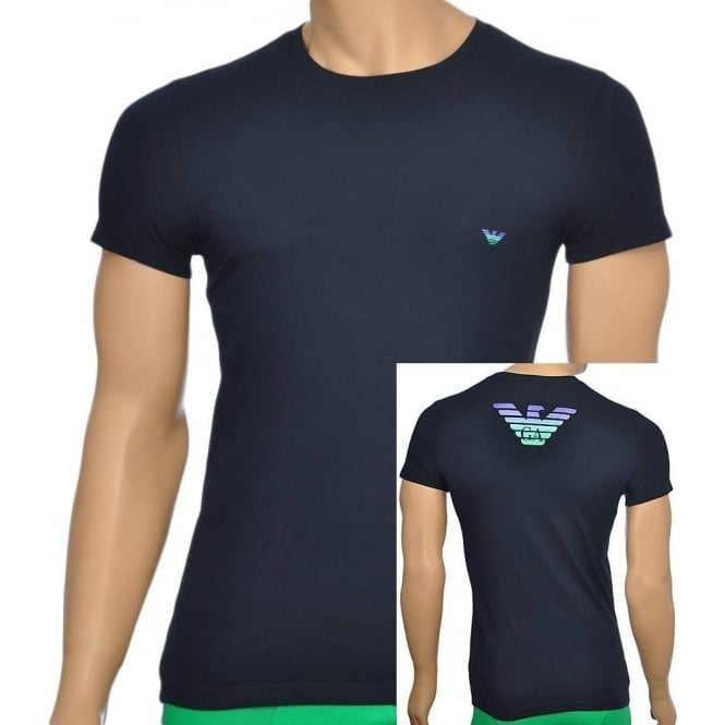 Emporio Armani Eagle Stretch Cotton Crew Neck T-Shirt, Marine
