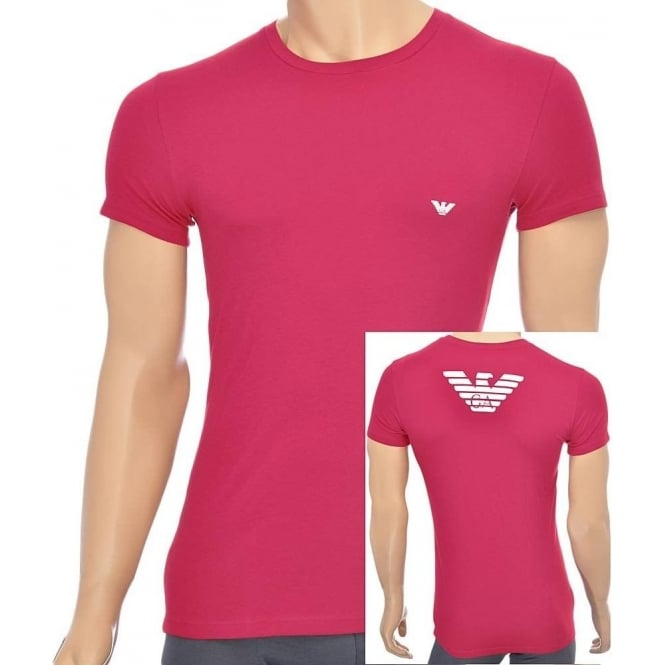 Emporio Armani Eagle Stretch Cotton Crew Neck T-Shirt, Ruby