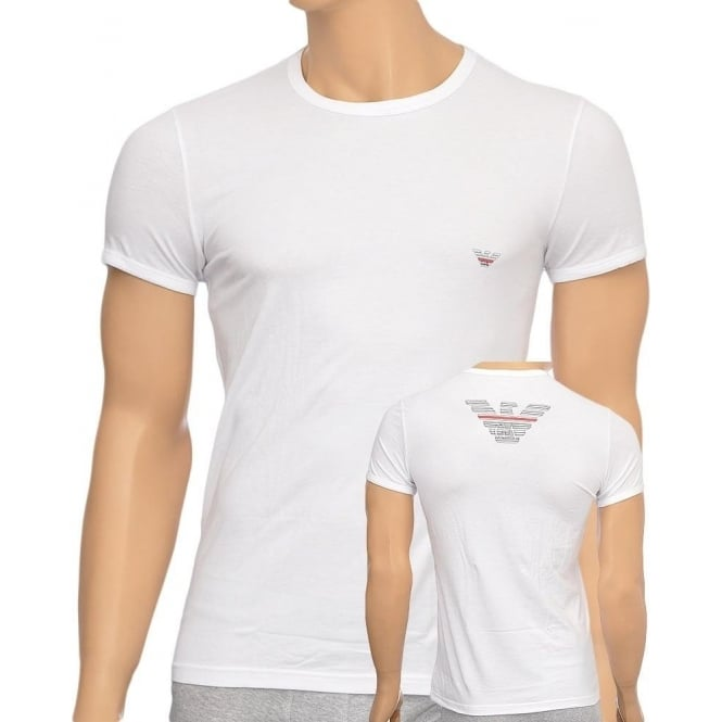 Emporio Armani Eagle Stretch Cotton Crew Neck T-Shirt, White