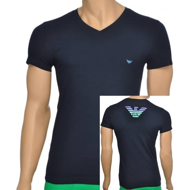 Emporio Armani Eagle Stretch Cotton V-Neck T-Shirt, Marine