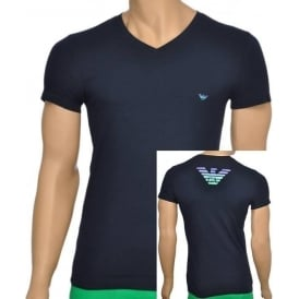 Eagle Stretch Cotton V-Neck T-Shirt, Marine