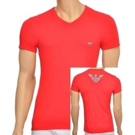 Eagle Stretch Cotton V-Neck T-Shirt, Red