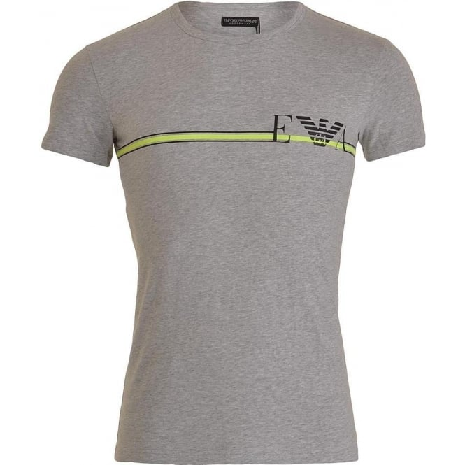 Emporio Armani Fancy Pop Line Stretch Cotton Crew Neck T-Shirt, Melange Grey