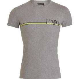Fancy Pop Line Stretch Cotton Crew Neck T-Shirt, Melange Grey