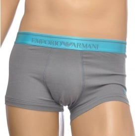Fashion Embroidery Stretch Cotton Trunk, Ash Grey