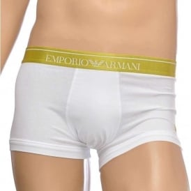 Fashion Embroidery Stretch Cotton Trunk, White