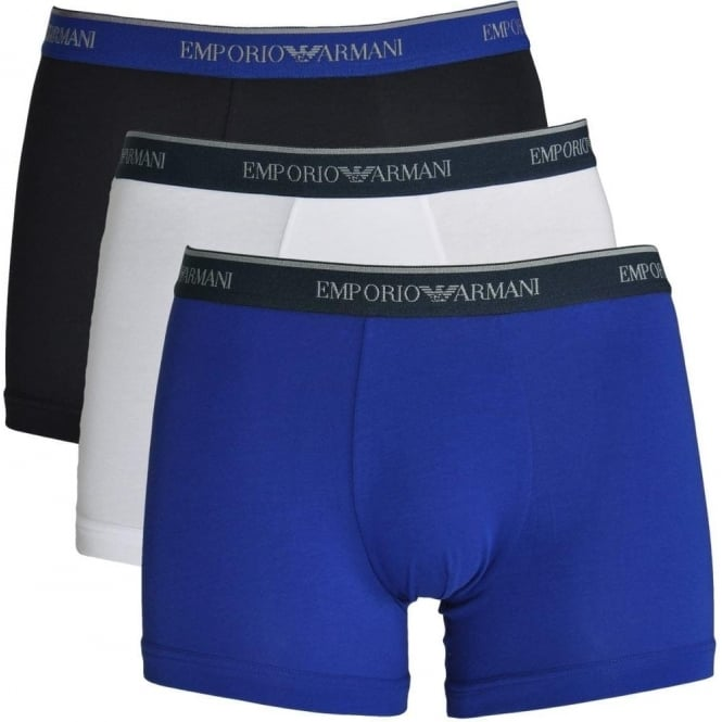 Emporio Armani Fashion Multipack Stretch Cotton 3-Pack Boxer Brief, Marine / Blue / White