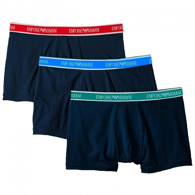 Emporio Armani Fashion Multipack Stretch Cotton 3-Pack Boxer Brief, Marine with Green / Red / Blue