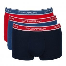 Fashion Multipack Stretch Cotton 3-Pack Trunk, Cobalt / Red / Marine