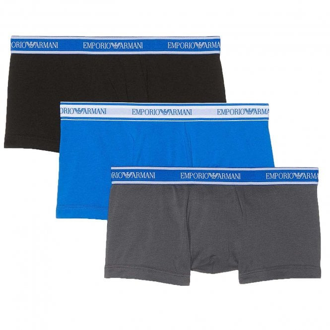 Emporio Armani Fashion Multipack Stretch Cotton 3-Pack Trunk, Grey / Black / Blue