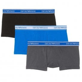Fashion Multipack Stretch Cotton 3-Pack Trunk, Grey / Black / Blue
