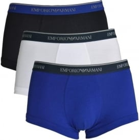 Fashion Multipack Stretch Cotton 3-Pack Trunk, Marine / Blue / White