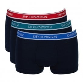 Fashion Multipack Stretch Cotton 3-Pack Trunk, Marine with Blue / Red / Green