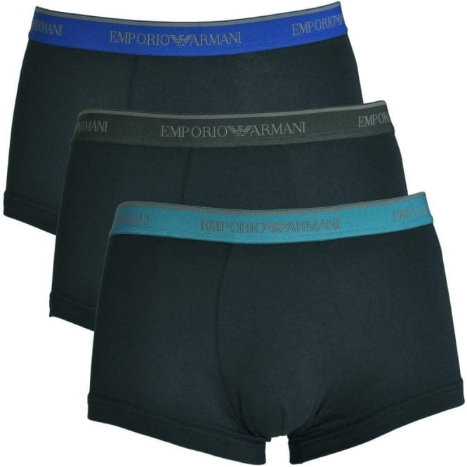 Emporio Armani Fashion Multipack Stretch Cotton 3-Pack Trunk, Marine with Blue / Teal / Grey