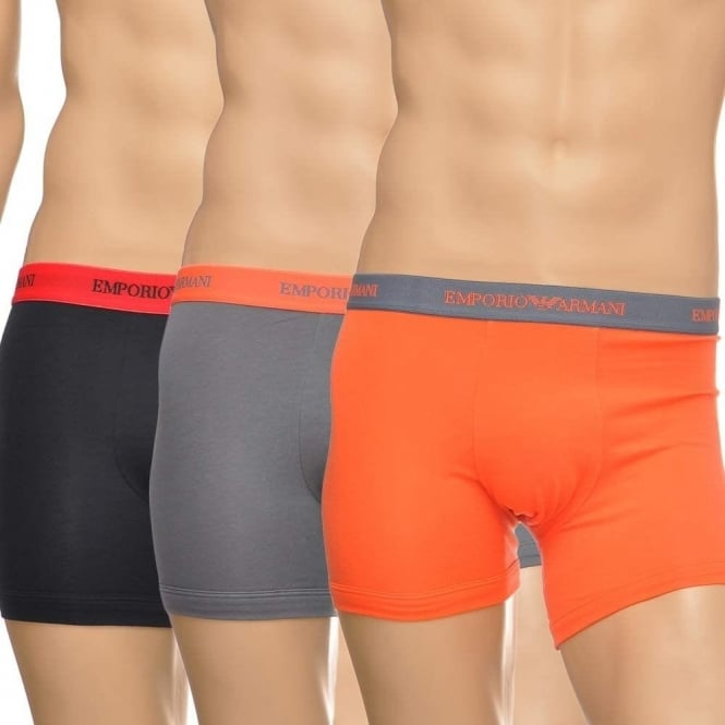 Emporio Armani Fashion Multipack Stretch Cotton 3-Pack Boxer, Black/Grey/Orange