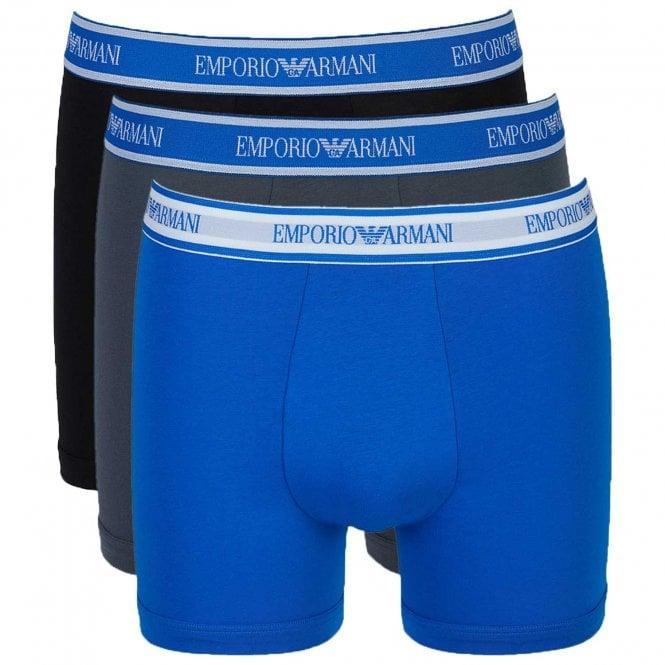 Emporio Armani Underwear Fashion Multipack Stretch Cotton 3-Pack Boxer Brief, Grey / Black / Wave Blue