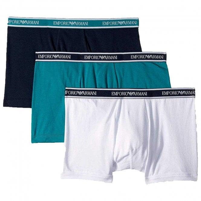 Emporio Armani Underwear Fashion Multipack Stretch Cotton 3-Pack Boxer Brief, Ocean / Marine / White