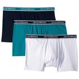 Fashion Multipack Stretch Cotton 3-Pack Boxer Brief, Ocean / Marine / White