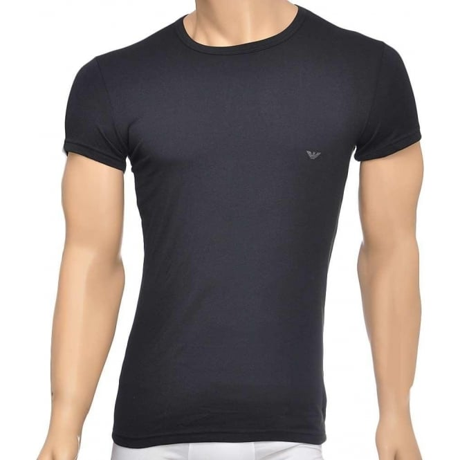 Emporio Armani Fashion Stretch Cotton Crew Neck T-Shirt, Black