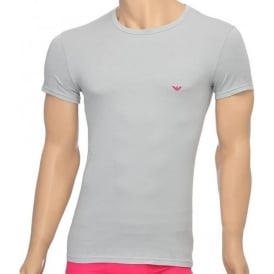 Fashion Stretch Cotton Crew Neck T-Shirt, Ice Grey