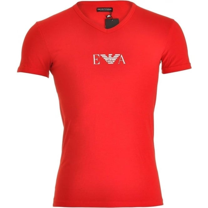 Emporio Armani Fashion Stretch Cotton V-Neck T-Shirt, Red