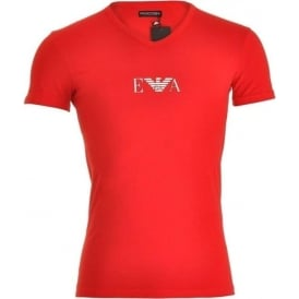 Fashion Stretch Cotton V-Neck T-Shirt, Red