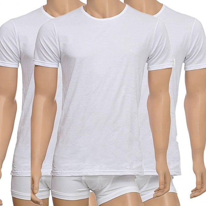 hot sale good to buy Emporio Armani Genuine Cotton 3-Pack Crew Neck T-Shirt, White