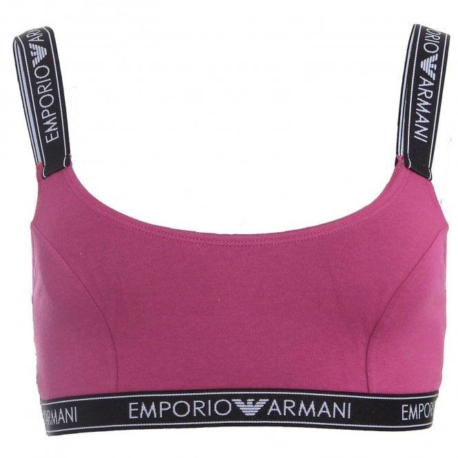Emporio Armani Underwear Iconic Logo Band Stretch Cotton Bralette, Purple with Black