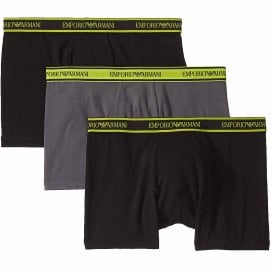 Logo Stretch Cotton 3-Pack Boxer Brief, Black/Anthracite/Black