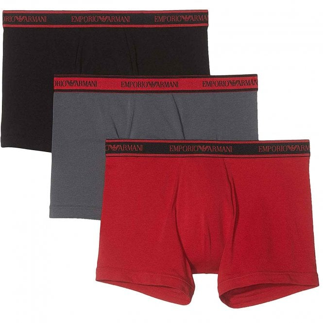 Emporio Armani Underwear Logo Stretch Cotton 3-Pack Boxer Brief, Black/Grey/Ruby