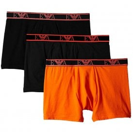 Logo Stretch Cotton 3-Pack Boxer Brief, Black/Orange/Black