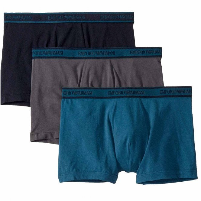 Emporio Armani Logo Stretch Cotton 3-Pack Boxer Brief, Grey / Marine / Oil Blue