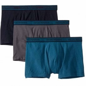 Logo Stretch Cotton 3-Pack Boxer Brief, Grey / Marine / Oil Blue