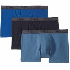 Logo Stretch Cotton 3-Pack Boxer Brief, Roy Blue/Marine/Indigo