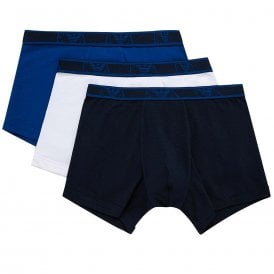 Logo Stretch Cotton 3-Pack Boxer Brief, Roy Blue / White / Navy
