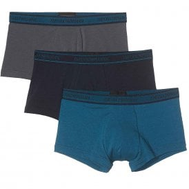 Logo Stretch Cotton 3-Pack Trunk, Grey / Marine / Oil Blue