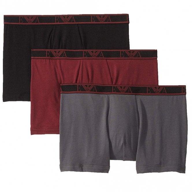 Emporio Armani Underwear Logo Stretch Cotton 3-Pack Boxer Brief, Black/Anthracite/Amaranth