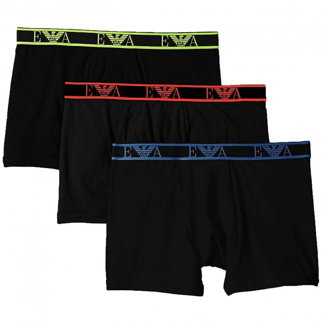 Emporio Armani Logo Stretch Cotton 3-Pack Boxer Brief, Black