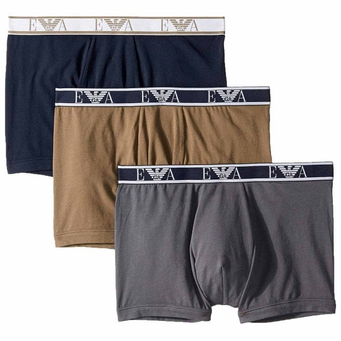 Emporio Armani Logo Stretch Cotton 3-Pack Boxer Brief, Grey / Marine / Khaki Green