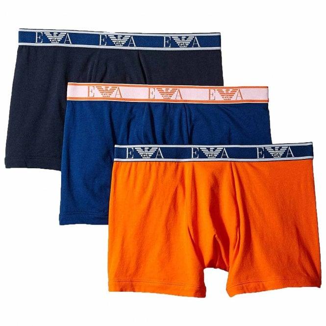 Emporio Armani Underwear Logo Stretch Cotton 3-Pack Boxer Brief, Marine / Bluette / Orange
