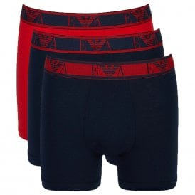 Logo Stretch Cotton 3-Pack Boxer Brief, Marine / Red / Marine