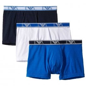 Logo Stretch Cotton 3-Pack Boxer Brief, White / Marine / Wave Blue